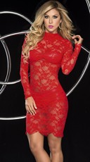 Racy Red Lace Dress Set