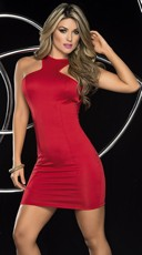 Racy Red Cowl Back Mini Dress