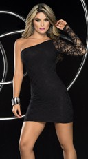 Black Lace Asymmetrical Club Dress