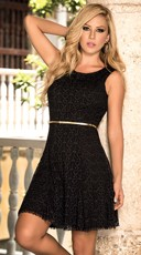 Belted Scoop Back Shimmery Dress