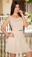 Belted Scoop Back Shimmery Dress