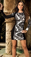 Damask Long Sleeve Bodycon Dress