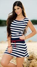 Nautical Striped T-Shirt Dress with Waist Tie