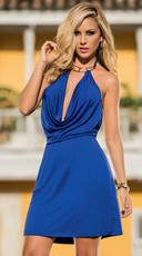Sexy Plunge Collared Halter Mini Dress