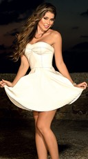 Strapless Retro Dress With Flared Skirt
