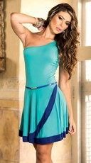 Two Tone Single-Shouldered Belted Mini Dress