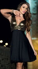 Black And Gold A-Line Dress