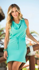 Draped Neckline Turquoise Dress