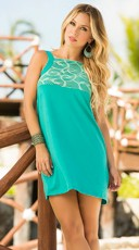 Feminine Lace Turquoise Dress