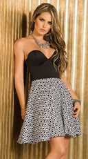 Sweetheart Diamond Print Dress