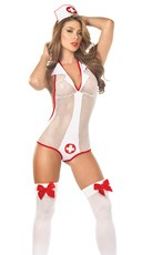 Fishnet Nurse Bodysuit Costume
