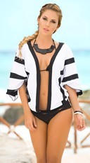 Striped Black and White Cover-Up