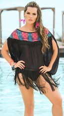 Tribal Print Fringe Cover-Up