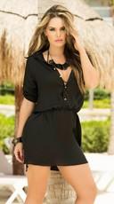 Black Shirt Dress Cover-Up