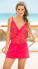 Coral Desire Mesh Sundress