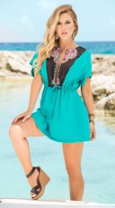 Seductive Turquoise Drawstring Sundress
