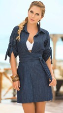 Denim Desire Wrap Tie Dress