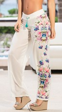Floral Drawstring Summer Pants