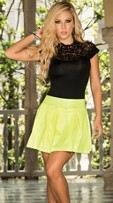 Scoop Neck Top with Scallop Lace Accents