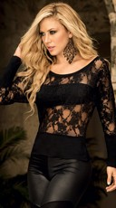 Floral Lace Top with Bandeau Under Panel