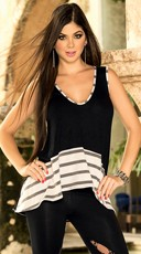 Black Tunic Top with Gray and White Stripes