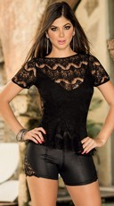 Woven Lace Peplum Top