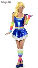 Rainbow Brite Belt and Warmers with Blue Dress