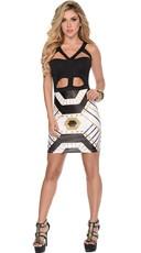 Strappy Bodycon Geometric Print Dress