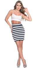 Nautical Playmate Crop Top and Skirt Ensemble