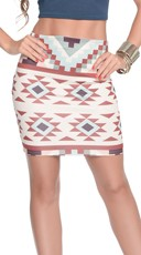 Sexy Aztec Print Mini Skirt