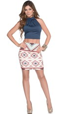 Print Skirt and Halter Crop Top Set