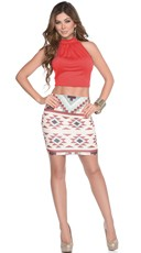 Ruched Halter Crop Top and Print Mini Skirt