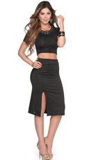 Black Out Sexy Crop Top and Skirt