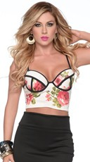 Floral Seduction Two Tone Bustier Crop Top