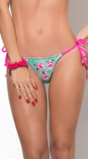Flirty in Floral Thong Bikini Bottom