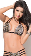 Sizzling Snake Print Triangle Bikini Top