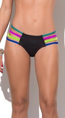 Neon Summer Strappy Bikini Bottom