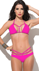 Hot Pink Strapped Up Cage Bikini
