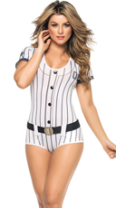 Blue and White Striped Baseball Costume