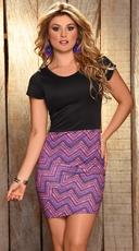 Purple Zig Zag Mini Dress
