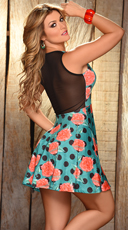 Teal Blue Floral and Mesh Flared Mini Dress