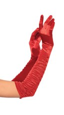 Elbow Length Ruched Satin Gloves