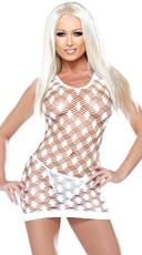 White Double Diamond Net Tank Dress