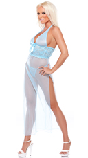 Blue Halter Sheer Gown