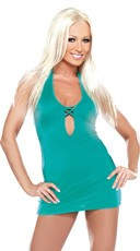 Turquoise Criss Cross Mini Dress