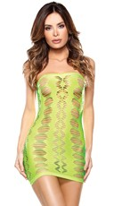 Neon Green Diamond Cutout Tube Dress