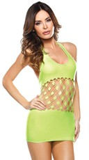 Neon Green Cut Out Halter Dress