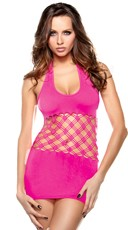 Neon Pink Cut Out Halter Dress