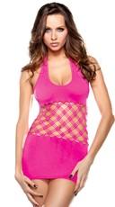 Neon Pink Cut Out Halter Dress