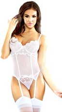White Mesh and Lace Bridal Bustier